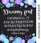 cute calligraphy letters.... | Shutterstock .eps vector #613418249