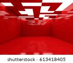simple empty room interior with ... | Shutterstock . vector #613418405
