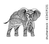elephant boho illustration in... | Shutterstock .eps vector #613419131