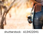 women tourists are standing to... | Shutterstock . vector #613422041
