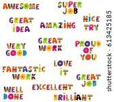 positive feedback messages in... | Shutterstock . vector #613425185