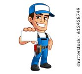electrician  he has a business... | Shutterstock .eps vector #613428749
