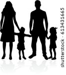vector silhouette of family. | Shutterstock .eps vector #613431665