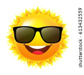 sun with sunglasses with... | Shutterstock .eps vector #613432559