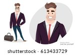 stylish man in business suit... | Shutterstock .eps vector #613433729