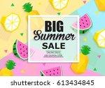 big summer sale colorful banner ... | Shutterstock .eps vector #613434845