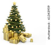 Golden Decorated Christmas Tre...