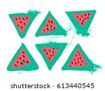 set of slices of bright fresh... | Shutterstock .eps vector #613440545