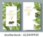 vector tropical vertical... | Shutterstock .eps vector #613449935