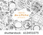 pub food frame vector... | Shutterstock .eps vector #613451075
