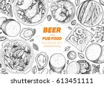 pub food frame vector... | Shutterstock .eps vector #613451111