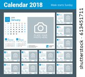 calendar for 2018 year. vector... | Shutterstock .eps vector #613451711