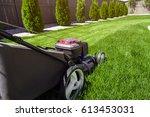 lawn mower on green grass    Shutterstock . vector #613453031