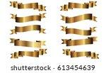 pack of ten golden ribbons on... | Shutterstock .eps vector #613454639