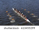 Small photo of BOSTON - OCTOBER 23, 2016: Bromfield Acton Boxborough (bottom) Bedford(middle) St andrews(top) races in the Head of Charles Regatta Men's Youth Eights [PUBLIC RACE]