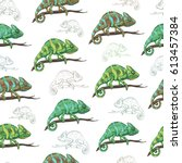 vector seamless pattern with... | Shutterstock .eps vector #613457384