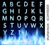 Set Of Letters. Font Burning...