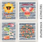 vector set of bright summer... | Shutterstock .eps vector #613461581