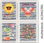 vector set of bright summer...   Shutterstock .eps vector #613461581
