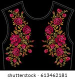 ethnic embroidery rose flowers... | Shutterstock .eps vector #613462181