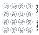 school and college line icons... | Shutterstock .eps vector #613463441