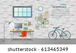 stylish and modern office... | Shutterstock .eps vector #613465349