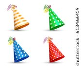 party hat set isolated on a... | Shutterstock .eps vector #613466459