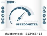 speedometer logo icon vector... | Shutterstock .eps vector #613468415
