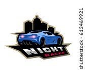 night street racer  emblem ...   Shutterstock .eps vector #613469921