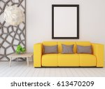 white interior design with... | Shutterstock . vector #613470209