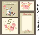 set of wedding invitation cards ... | Shutterstock .eps vector #613470929