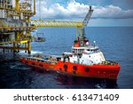 industrial offshore oil and gas ... | Shutterstock . vector #613471409