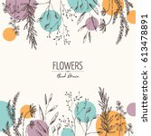 floral background with flower... | Shutterstock .eps vector #613478891