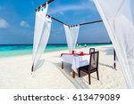 romantic luxury dinner or lunch ... | Shutterstock . vector #613479089