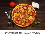 pizza pepperoni  | Shutterstock . vector #613479209