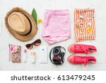 woman's casual summer clothes... | Shutterstock . vector #613479245