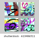 set of hand drawn abstract... | Shutterstock .eps vector #613486511