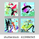 set of hand drawn artistic... | Shutterstock .eps vector #613486565