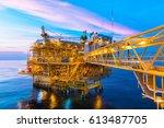 offshore construction platform... | Shutterstock . vector #613487705