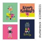 happy birthday typographic... | Shutterstock .eps vector #613488221