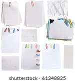 collection of paper notes with clips - stock photo