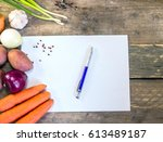 vegetables with blank paper on... | Shutterstock . vector #613489187