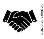 hand shake business vector icon ... | Shutterstock .eps vector #613489595