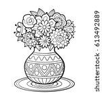 vase of flowers with geometric... | Shutterstock .eps vector #613492889