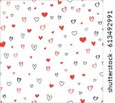doodle hearts different shape... | Shutterstock .eps vector #613492991