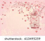 vintage bird cage among hearts  ... | Shutterstock . vector #613495259