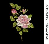 roses embroidery on black... | Shutterstock .eps vector #613498379
