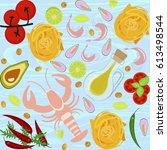 fresh seafood flat design on... | Shutterstock .eps vector #613498544