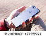 iphone 7 plus jet black with...   Shutterstock . vector #613499321