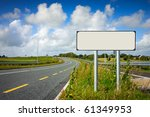 road with sign pole and blue... | Shutterstock . vector #61349953